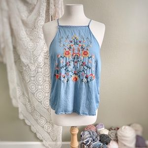 BLUE RAIN | Chambray Floral Embroidery Tank Top